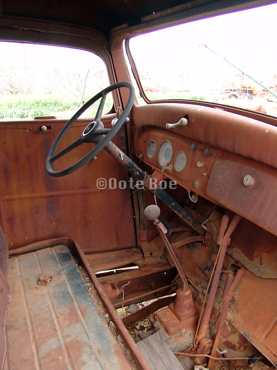 Interior of an old abandoned truck.