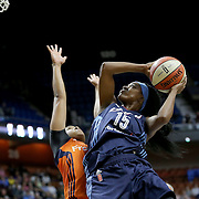 UNCASVILLE, CONNECTICUT- JUNE 3:  Tiffany Hayes #15 of the Atlanta Dream shoot for two past Alex Bentley #20 of the Connecticut Sun during the Atlanta Dream Vs Connecticut Sun, WNBA regular season game at Mohegan Sun Arena on June 3, 2016 in Uncasville, Connecticut. (Photo by Tim Clayton/Corbis via Getty Images)