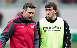 Scarlets Backs Coach Stephen Jones talks with Dan Jones<br /> <br /> Photographer Simon King/Replay Images<br /> <br /> EPCR Champions Cup Round 3 - Scarlets v Benetton Rugby - Saturday 9th December 2017 - Parc y Scarlets - Llanelli<br /> <br /> World Copyright © 2017 Replay Images. All rights reserved. info@replayimages.co.uk - www.replayimages.co.uk