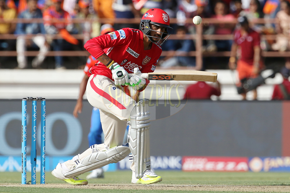 Akshar Patel of Kings XI Punjab plays a shot during match 26 of the Vivo 2017 Indian Premier League between the Gujarat Lions and the Kings XI Punjab held at the Saurashtra Cricket Association Stadium in Rajkot, India on the 23rd April 2017<br /> <br /> Photo by Vipin Pawar - Sportzpics - IPL