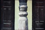 Detail of pillar and door in Ambalangoda. South Coast.