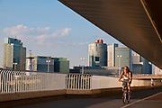 UNO City an der Donau von der Reichsbrücke, Wien, Österreich .|.UNO City from Reichs Bridge, Vienna, Austria..
