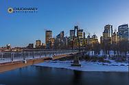 Winter city skyline of Calgary, Alberta, Canada