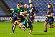 Eroni Sau (#14) of Edinburgh Rugby is yellow carded after this tackle on Tom Daly (#23) of Connacht Rugby during the Guinness Pro 14 2019_20 match between Edinburgh Rugby and Connacht Rugby at BT Murrayfield Stadium, Edinburgh, Scotland on 21 February 2020.