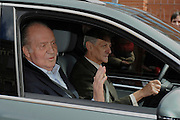 09.MARCH.2013. MADRID<br /> SPANISH KING JUAN CARLOS LEFT THE HOSPITAL WHERE HE UNDERWENT A BACK HERNIA OPERATION SIX DAYS AGO AND WILL CONTINUE HIS REHABILITATION AT THE ZARZUELA PALACE, HIS OFFICIAL RESIDENCE.THE HEAD OF STATE TOLD REPORTERS SATURDAY UPON DEPARTING LA MILAGROSA HOSPITAL IN THIS CAPITAL THAT &quot;THANK GOD, I'M VERY WELL. MY BACK DOESN'T HURT OR ANYTHING.&quot;THE KING HAD PREVIOUSLY BID FAREWELL TO THE NEUROSURGEON WHO PERFORMED THE OPERATION, DR. MANUEL DE LA TORRE, AND THE REST OF THE MEDICAL TEAM AND ADMINISTRATIVE STAFF THAT ATTENDED TO HIM.JUAN CARLOS STILL MUST UNDERGO REHABILITATION FOR UP TO SIX MONTHS AND WILL NOT TRAVEL DURING THAT TIME, ALTHOUGH HE IS SCHEDULED TO RESUME HIS DUTIES AT THE ZARZUELA PALACE.HE WAS HOSPITALIZED LAST SUNDAY AND UNDERWENT A THREE-HOUR OPERATION UNDER GENERAL ANESTHESIA FOR HERNIATED DISCS IN THE LUMBOSACRAL REGION OF HIS SPINE.<br /> <br /> BYLINE: EDBIMAGEARCHIVE.CO.UK<br /> <br /> *THIS IMAGE IS STRICTLY FOR UK NEWSPAPERS AND MAGAZINES ONLY*<br /> *FOR WORLD WIDE SALES AND WEB USE PLEASE CONTACT EDBIMAGEARCHIVE - 0208 954 5968*