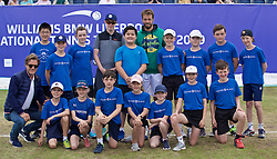 LIVERPOOL, ENGLAND - Sunday, June 23, 2019: Paulo Lorenzi (ITA) and Tournament Director Anders Borg cwith the ball boys and girls after the Men's Final on Day Four of the Liverpool International Tennis Tournament 2019 at the Liverpool Cricket Club. (Pic by David Rawcliffe/Propaganda)
