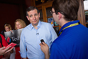 U.S. Senator Ted Cruz and GOP presidential candidate speaks to reporters following a town hall meeting at the Liberty Tap Room restaurant August 7, 2015 in Mt Pleasant, South Carolina. The event was the kick off event of a seven-day bus tour called the Cruz Country Bus Tour of southern states.