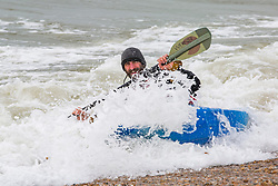 © Licensed to London News Pictures. 25/03/2018. Brighton, UK. Members of the Brighton Martlets Kayak Club take to the sea in Brighton and Hove as milder weather is hitting the South Coast seaside resort. Photo credit: Hugo Michiels/LNP