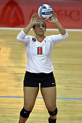 23 October 2015:  Jordan Weatherless(11) during an NCAA women's volleyball match between the Wichita State Shockers and the Illinois State Redbirds at Redbird Arena in Normal IL (Photo by Alan Look)
