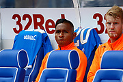 Alfredo Morelos of Rangers F.C. on the bench before the Ladbrokes Scottish Premiership match between Rangers and Celtic at Ibrox, Glasgow, Scotland on 1 September 2019.