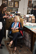 CHRISTINE BLAKE;  IN  A RECREATION OF PETER BLAKE'S  STUDIO,  Opening of Frieze Masters. Regents Park, 4 October 2017
