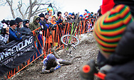 USA's Tim Johnson crashes while descending a slope covered in mud and ice during the Elite Men's UCI Cyclocross World Championships held at Eva Bandman Park in Louisville, Kentucky, on February 2, 2013. © Dan Henry / BiciPhoto.com