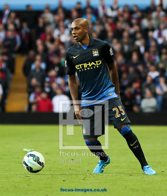 Fernandinho of Manchester City in possession of the ball during the Barclays Premier League match at Villa Park, Birmingham<br /> Picture by Tom Smith/Focus Images Ltd 07545141164<br /> 04/10/2014