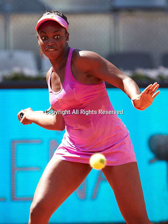 08.05.2014 Madrid, Spain. Sloane Stephens of USA follows the ball during the game with Na Li of China on day 5 of the Madrid Open from La Caja Magica.