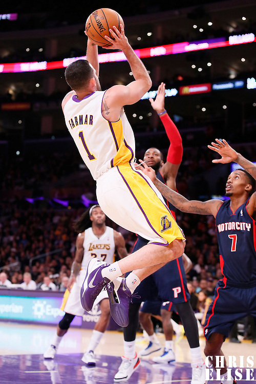 17 November 2013: Los Angeles Lakers point guard Jordan Farmar (1) takes a jumpshot over Detroit Pistons point guard Brandon Jennings (7) during the Los Angeles Lakers 114-99 victory over the Detroit Pistons at the Staples Center, Los Angeles, California, USA.