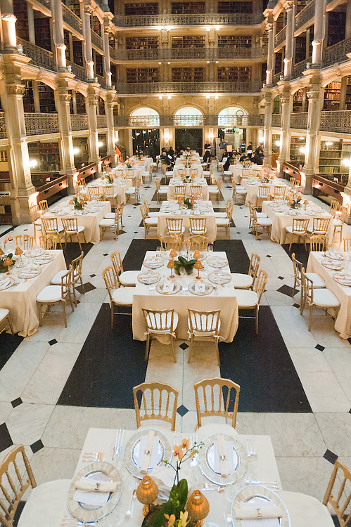Place settings for dinner at Peabody library, Baltimore, MD
