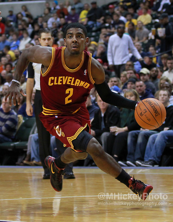 Dec. 30, 2011; Indianapolis, IN, USA; Cleveland Cavaliers guard Kyrie Irving (2) drives to the basket against the Indiana Pacers at Bankers Life Fieldshouse. Indiana defeated Cleveland 81-91. Mandatory credit: Michael Hickey-US PRESSWIRE