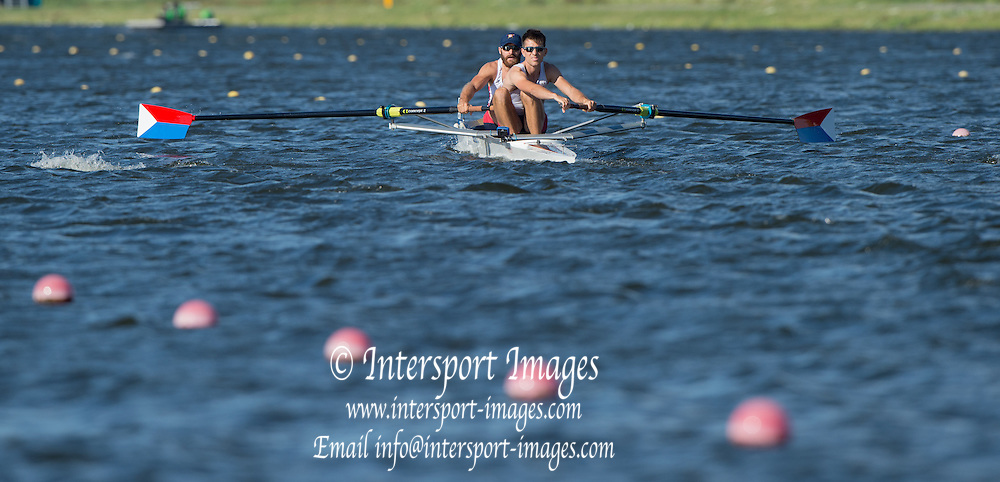Rotterdam. Netherlands. 2016 U23 USA BM2-. bow . GLEIM, and  Kyle<br /> JAMES, {WRCH2016} at the Willem-Alexander Baan.   Monday  22/08/2016 <br /> <br /> [Mandatory Credit; Peter SPURRIER/Intersport Images]