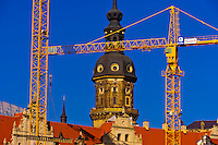 Cranes symbolize the  refurbished skyline of Dresden, Saxony, Germany