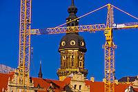 Cranes symbolize the  refurbished skyline of Dresden, Saxony, Germany