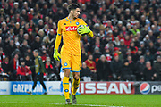 Napoli goalkeeper Alex Meret (1) in action during the Champions League match between Liverpool and Napoli at Anfield, Liverpool, England on 27 November 2019.