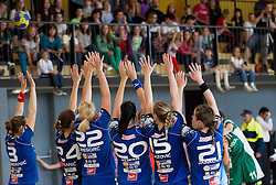 Players of Krim during last game of 1st A Slovenian Women Handball League season 2011/12 between ZRK Krka and RK Krim Mercator, on May 8, 2012 in Stopice at Novo mesto, Slovenia. RK Krim Mercator became Slovenian National Champion, GEN-I Zagorje placed second and ZRK Krka placed third. (Photo by Vid Ponikvar / Sportida.com)
