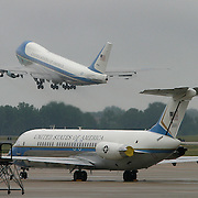 The airplane carrying the casket of former President Ronald Reagan itakes off for a flight back to California Friday, June 11, 2004, at Andrews Air Force, MD.  ..Photo by Khue Bui