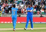 Wicket - Jasprit Bumrah of India celebrates taking the wicket of Sabbir Rahman of Bangladesh with Yuzvendra Chahal of India during the ICC Cricket World Cup 2019 match between Bangladesh and India at Edgbaston, Birmingham, United Kingdom on 2 July 2019.