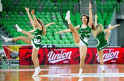 Cheerleaders Green Ladies perform during basketball match between KK Petrol Olimpija and KK Rogaska in Round #5 of Liga Nova KBM za prvaka 2018/19, on March 31, 2019, in Arena Stozice, Ljubljana, Slovenia. Photo by Vid Ponikvar / Sportida