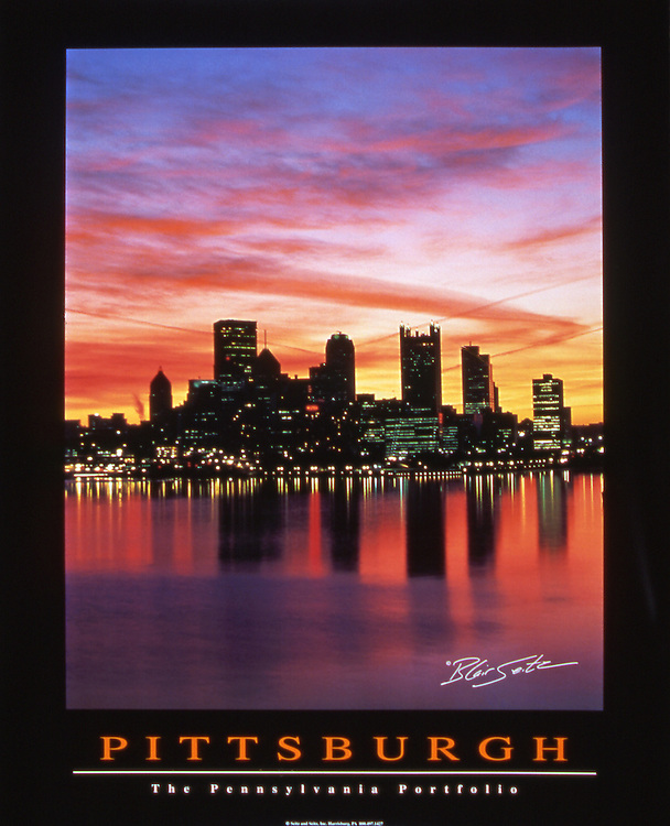 "Poster of Pittsburgh sunrise over Golden Triangle and Three Rivers, Pennsylvania. Black border with ""Pittsburgh"" and ""The Pennsylvania Portfolio"" written at the bottom"