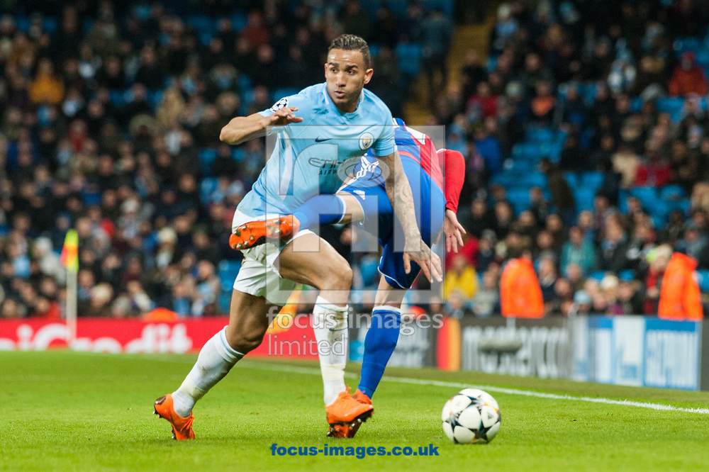Danilo of Manchester City in a tussle for the ball with Gabriel Jesus of Manchester City and during the UEFA Champions League match at the Etihad Stadium, Manchester<br /> Picture by Matt Wilkinson/Focus Images Ltd 07814 960751<br /> 06/03/2018