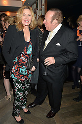 KIM CATTRALL and ANDREW NEIL at the 3rd birthday party for Spectator Life magazine hosted by Andrew Neil and Olivia Cole held at the Belgraves Hotel, 20 Chesham Place, London on 31st March 2015.
