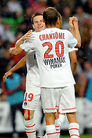 FOOTBALL - FRENCH CHAMPIONSHIP 2011/2012 - L1 - STADE RENNAIS v PARIS SG - 13/08/2011 - PHOTO PASCAL ALLEE / DPPI - JOY KEVIN GAMEIRO (PSG) AFTER HIS GOAL. HE IS CONGRATULATED BY CLEMENT CHANTONE