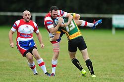 BUGBROOKE Z.MILLER  BRING DOWN WELLINGBOROUGHS CHRIS SHIPMAN, Wellingborough Rugby RFC v Bugbrooke RFC, Midlands 1 East League, Cut Throat Lane Gound, Gt Doddington, Saturday 3rd September 2016