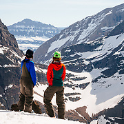 Shannon Mahre and Lynsey Dyer admire the view of Mount Jackson in Glacier National Park.