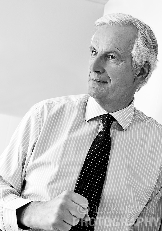 Michel Barnier, the EU's commissioner for internal markets and services, speaks during an interview in his office at the EU Commission headquarters in Brussels, on Tuesday, April 27, 2010. (Photo © Jock Fistick)