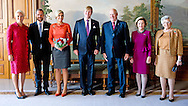 2-10-2013  OSLO – Dutch King Willem-Alexander and Queen Maxima are met by Their Majesties King Harald V and Queen Sonja and Prince Harald and princes Mette-Marit Official visit to the Kingdom of Norway .Their Majesties King Willem-Alexander and Queen Máxima of the Kingdom of the Netherlands during the 1 day visit. COPYRIGHT ROBIN UTRECHT