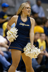 March 16, 2011; Berkeley, CA, USA;  A California Golden Bears cheerleader performs during the first half against the Mississippi Rebels of the first round of the National Invitation Tournament at Haas Pavilion.  California defeated Mississippi 77-74.