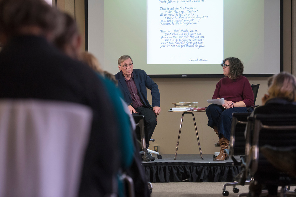 "John Greening, editor of Edmund Blunden's WWI memoir, ""Undertones of War"", is interviewed by Ohio University associate professor Nicole Reynolds during an Authors at Alden event in Alden Library on Nov. 8, 2018.<br /> Photo by Hannah Ruhoff"