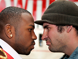 IBF/IBO Super Middleweight Champion Jeff Lacy (l) faces off with WBO Super Middleweight Champion Joe Calzaghe (r) during the press conference announcing their upcoming superfight.  The two champs will unify the titles on Saturday, March 6 at the M.E.N Arena in Manchester, England.