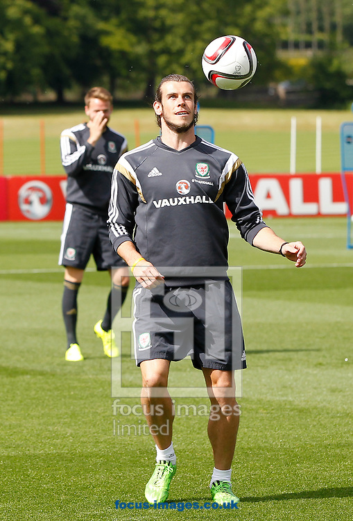Gareth Bale during the Wales Training session at the Vale Resort, Hensol<br /> Picture by Mike Griffiths/Focus Images Ltd +44 7766 223933<br /> 08/06/2015