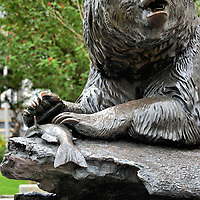 Brown Bear with Salmon Sculpture in Juneau, Alaska<br />