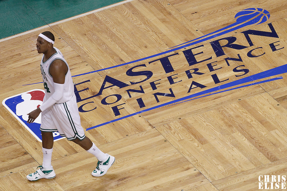 01 June 2012: Boston Celtics small forward Paul Pierce (34) is seen during the first quarter of Game 3 of the Eastern Conference Finals playoff series, Heat vs Celtics, at the TD Banknorth Garden, Boston, Massachusetts, USA.