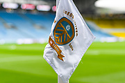 A general view of Elland Road corner flag with Leeds United 100 year badge before the EFL Sky Bet Championship match between Leeds United and Brentford at Elland Road, Leeds, England on 21 August 2019.