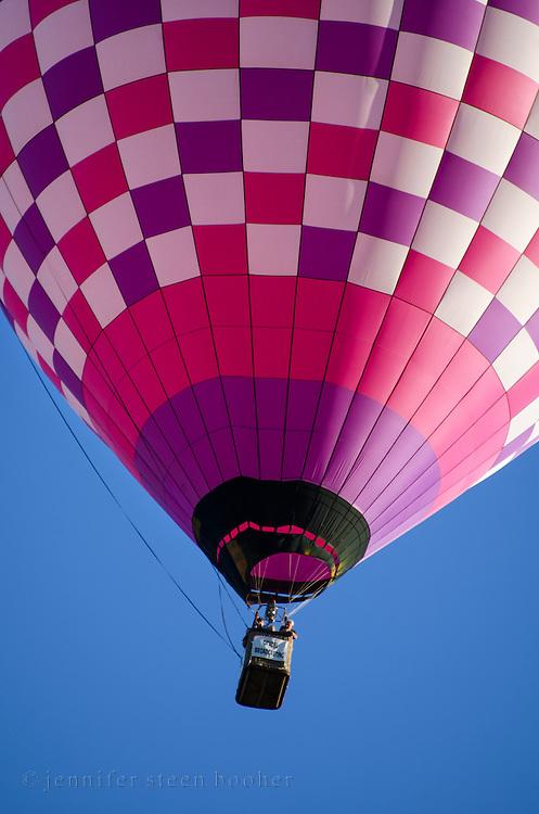 A pink-and-purple checkered balloon, Crown of Maine Balloon Fair, Presque Isle, Maine.