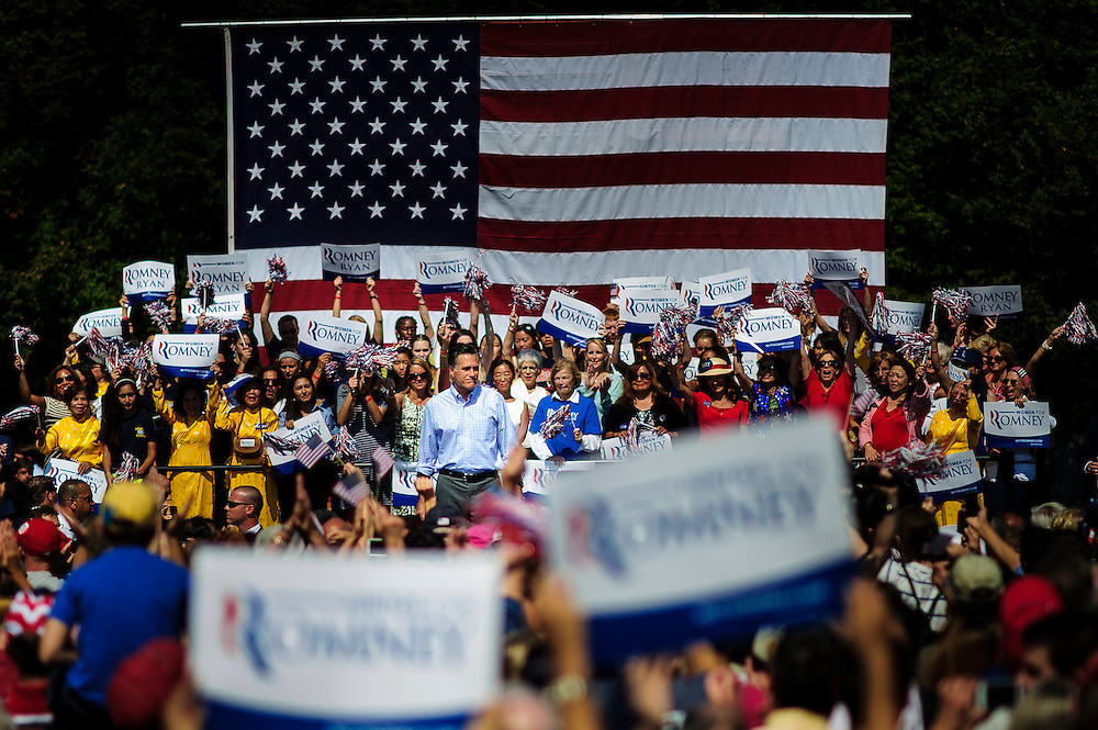 Republican Presidential Candidate Mitt Romney speaks to the crowd during a rally in Fairfax, Virginia.