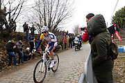 Belgium, March 31 2013: Jurgen Roelandts, LOTTO BELISOL, led the race up the final ascension of the Oude-Kwaremont climb during the Ronde van Vlaandaren 2013. Copyright 2013 Peter Horrell.