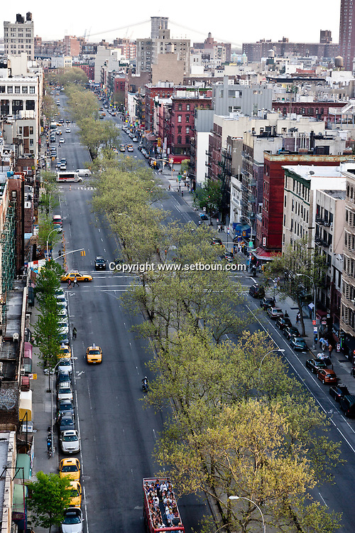 New York. elevated view on Manhattan lower east side and allen street. view from lower east side , Manhattan - United states   / le lower east side et allen street . Manhattan, New York - Etats-unis