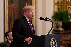 November 16, 2018 - Washington, DC, United States - U.S. President Donald Trump speaks during a Presidential Medal of Freedom ceremony in the East Room of the White House in Washington, D.C., on Friday, Nov. 16, 2018. (Credit Image: © Cheriss May/NurPhoto via ZUMA Press)