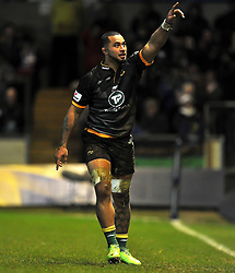 Samu Manoa of Northampton Saints celebrates his try - Photo mandatory by-line: Patrick Khachfe/JMP - Mobile: 07966 386802 13/12/2014 - SPORT - RUGBY UNION - Northampton - Franklin's Gardens - Northampton Saints v Treviso - European Rugby Champions Cup